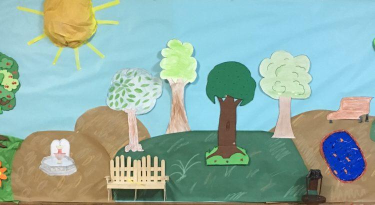 Alumnos de 3ºB de Primaria realizan un mural para el 'Proyecto de Ecología y Sostenibilidad'