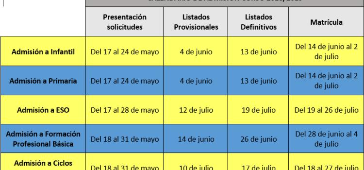 Calendario Admisión Curso 2018/2019