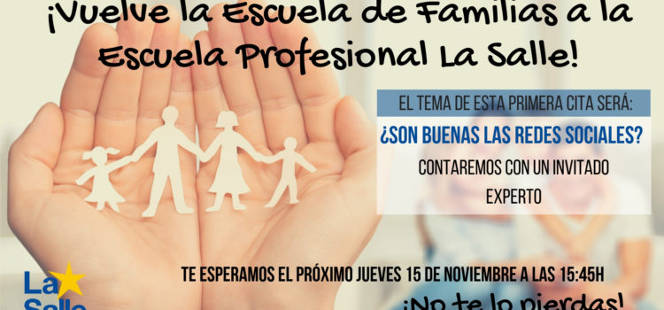 Escuela de familias el próximo jueves 15 sobre redes sociales