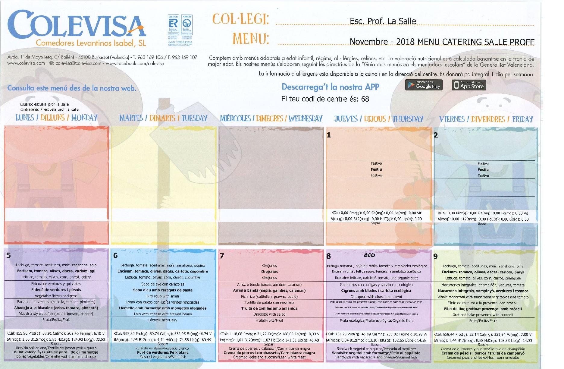 Menú Comedor Escolar - Web Escuela Profesional La Salle Paterna