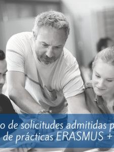 Listado definitivo de solicitudes admitidas para el programa de prácticas ERASMUS +