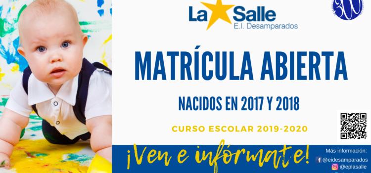 Matrícula abierta en la Escuela Infantil Desamparados-La Salle para el curso 2019-2020