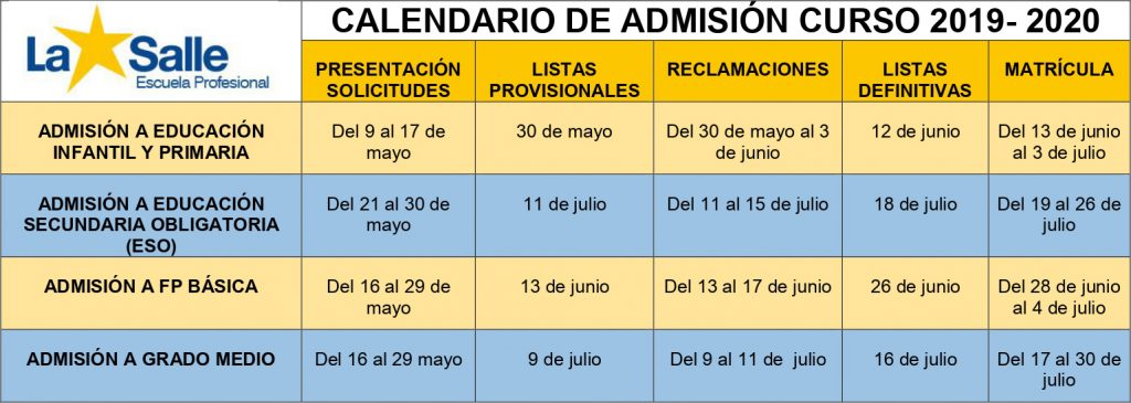 Calendario Laboral 2020 Palma De Mallorca.Calendario Y Proceso De Admision Curso 2019 2020 Web Escuela
