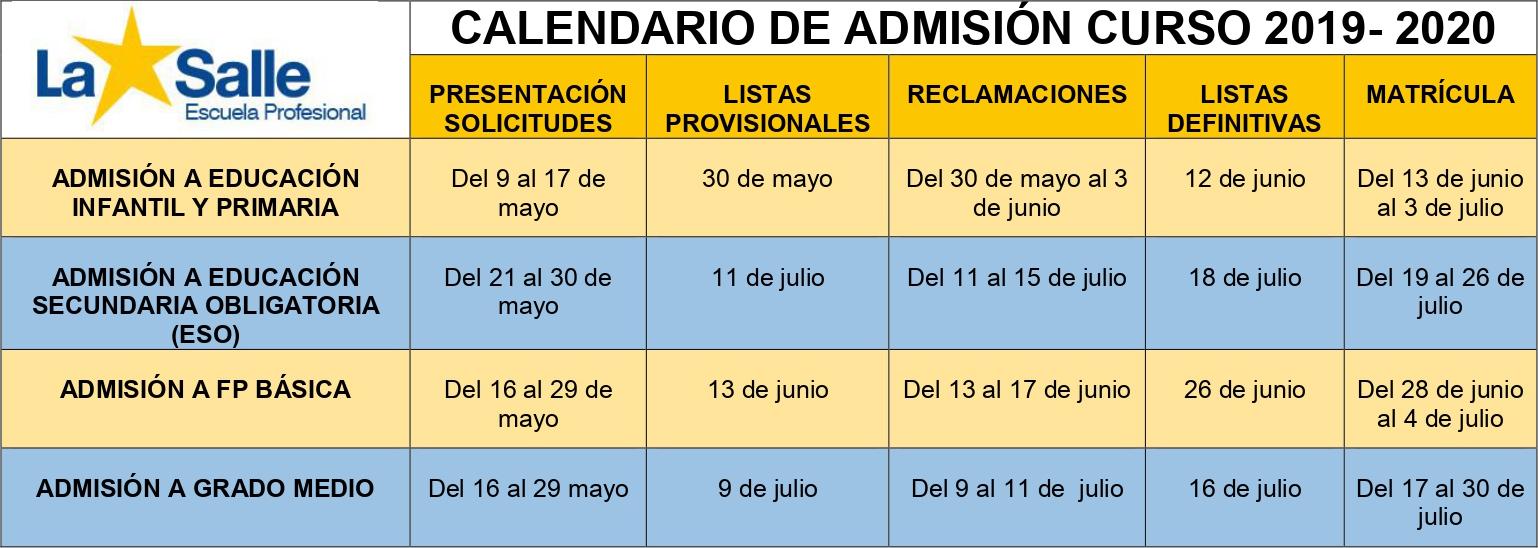 Calendario Y Proceso De Admisión Curso 2019 2020 Web