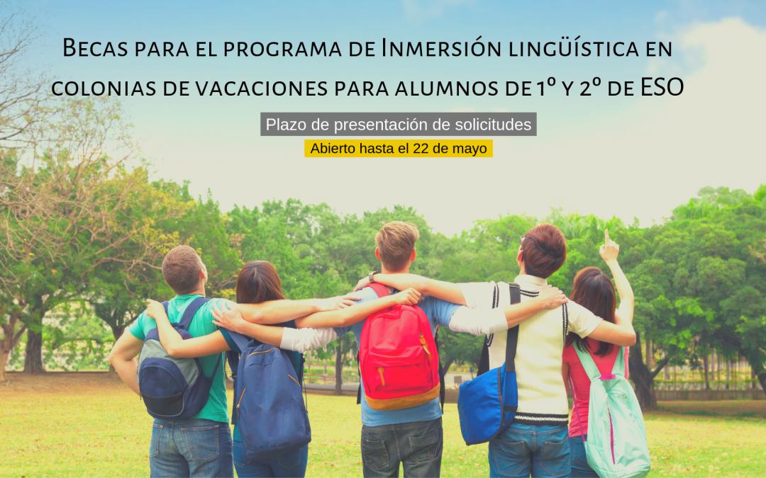 Becas para el programa de Inmersión lingüística en colonias de vacaciones