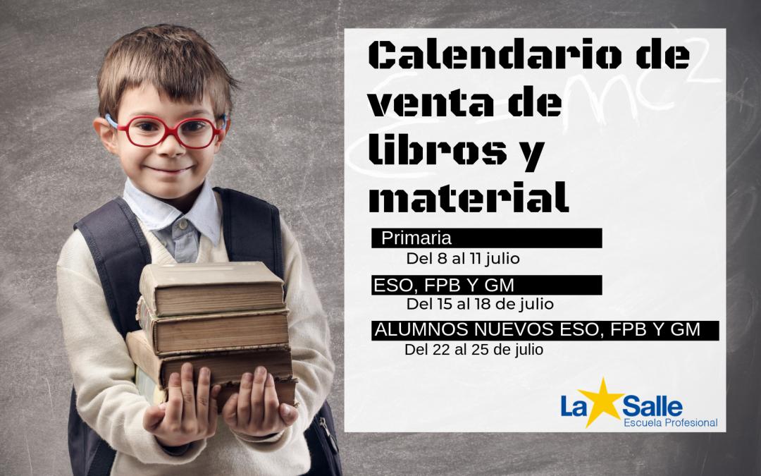 Calendario y horarios de venta de libros y materiales