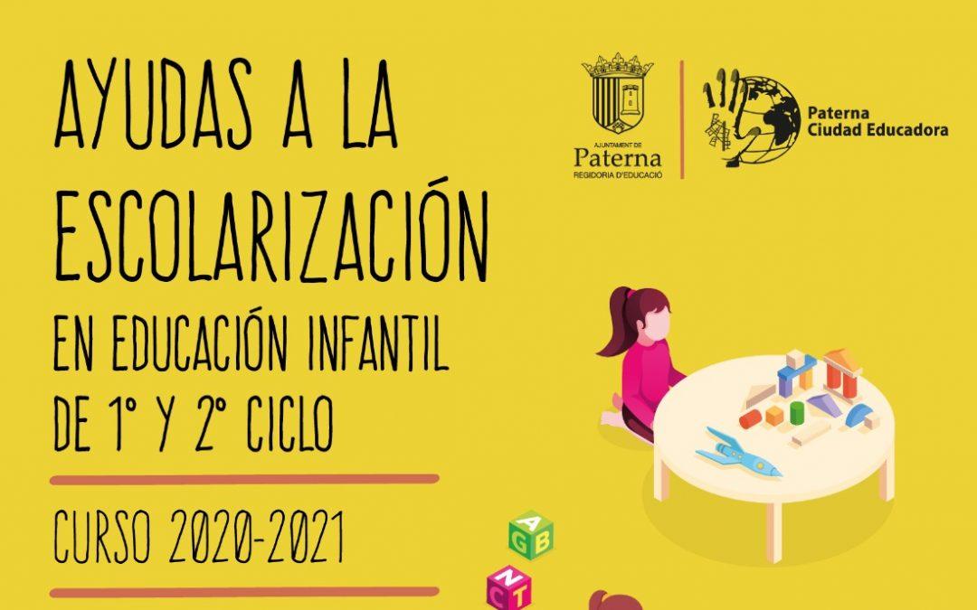 Ayudas a la Escolarización en Educación Infantil de 1º y 2º Ciclo para el curso 2020-2021 del Ayuntamiento de Paterna