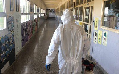 Trabajos de desinfección en La Escuela Profesional La Salle y en la Escuela Infantil Desamparados
