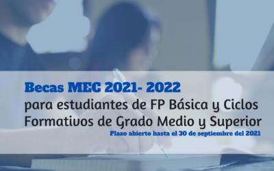 Becas MEC curso 2021-2022 para Estudiantes de FP Básica y Ciclos Formativos