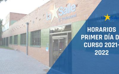Información de inicio de curso 2021/2022 – HORARIO PRIMER DÍA